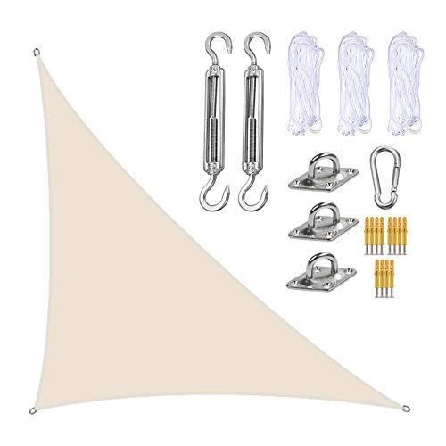 XISENOCI Vela Parasol, triángulo Derecho 10 x 13 x 16 Velas Sombra con Kit de fijación Resistente, toldo para cochera para Patio, Bloqueador de Rayos UV