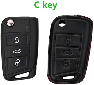 Key Case Car 4D Genuine Leather Key Cover Holder For VW Passat B8 MK7 Golf 7