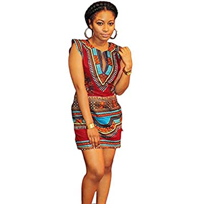 African Print Dresses for Women Long Sleeve Knee Length Dress Casual Traditional Hot Pink