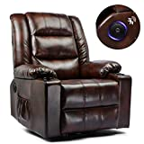 ComHoma Big & Tall lbs Home Theater Recliner Leather Recline Speaker Chair Modern Rocker with Heated Massage Ergonomic Lounge Swivel Single Sofa Seat w/Drink Holders Living Room Chair Brown
