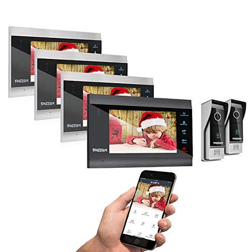 TMEZON 7 Inch Wireless/WiFi Smart IP Video Door Phone Intercom System Doorbell Entry 4 Montior with 2x 1080P Wired Doorbell Camera,Support Smartphone Remote Unlock, Record,Snapshot
