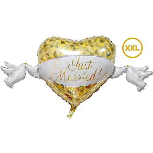 DIWULI, XXL Just Married Balloon, Bruiloftsfolie Ballon Goud wit, Bruiloftsfolie Ballon voor Bruiloftsceremonie, Huwelijksdag, Zilveren Bruiloft, Gouden Bruiloft, Verloving, Decoratie, Liefde, Liefde