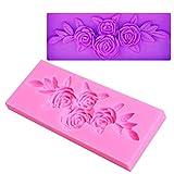 Flybloom Silikonformen Rose Blume mit Blattform DIY Fondant Schokolade Sugarcraft Plätzchenform Kuchen Dekor Backen Werkzeuge