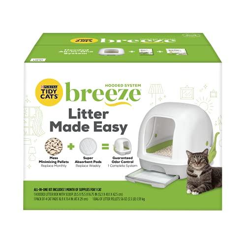 pellet cat litter boxes Purina Tidy Cats Hooded Litter Box System, Breeze Hooded System Starter Kit Litter Box, Litter Pellets & Pads