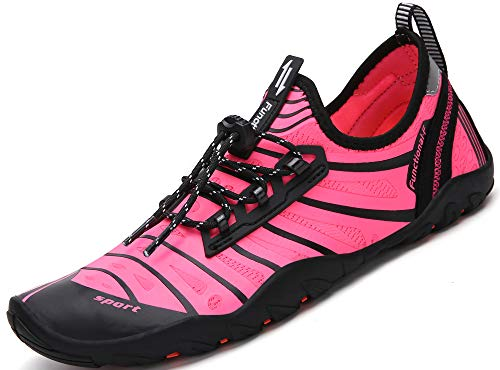SAGUARO Unisex Aqua Water Shoes Traspirante Rapida Asciugatura Scarpe da Spiaggia Nuotare Surf Yoga Antiscivolo Estate Donna Uomo, Rosa 41