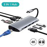 Hub USB C, adaptateur de type C 8 en 1 vers HDMI, port Ethernet RJ45 Gigabit, 3ports USB 3.0, port de chargement PD, lecteur de carte SD/TF/pour MacBook Pro 16/17/18/1 MacBook Air2018/2019 (Grey)