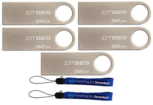 Kingston (TM) Digital DataTraveler SE9 32GB USB 2.0 (DTSE9H/32GB) 32GB (5 pack) Flash Drive Pen Drive - Five Pack w/ (2) Everything But Stromboli (TM) Lanyards