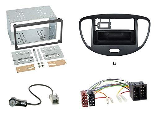 Radioeinbauset für Doppel DIN Autoradio in Hyundai i10 (2008-2013) - schwarz