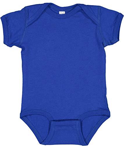 RABBIT SKINS, Baby Soft Fine Jersey Short Sleeve Bodysuit, Royal, 12 Months