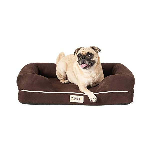 Friends Forever Orthopedic Dog Bed Lounge Sofa Removable Cover 100% Suede 2.5″-5″ Mattress Memory-Foam Premium Prestige Edition