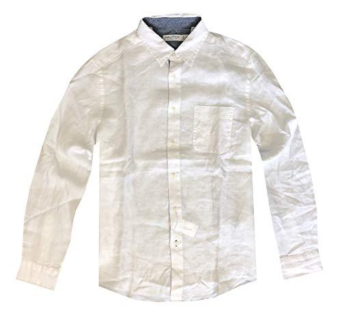 Nautica - Camisa de lino con bolsillo en el pecho y manga larga para hombre -  Blanco -  Medium