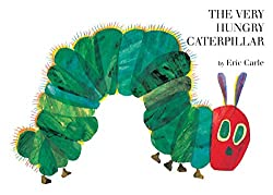 Image of the board book The Very Hungry Caterpillar by Eric Carle with link to purchase through Amazon