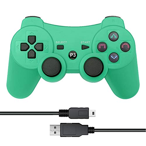 Vinonda PS3 Controller Wireless Double Vibration Remote Gamepad with Charging Cable for Sony Playstation 3 (Green)