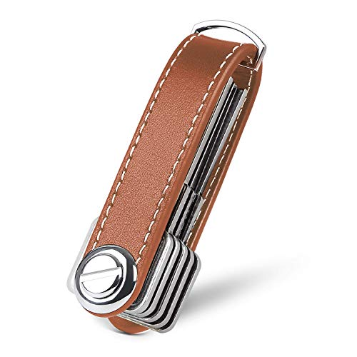 flintronic Key Organizer | Schlüsselanhänger Echtes Leder | Pocket Smart Key Holder mit Stilvoller,Funktionaler und Praktischer Geschenkbox (für 7-9 Mehrfachschlüssel) - Brown
