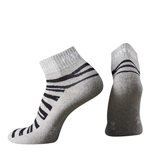 Fussvolk Quarter Socken grau Sportstrümpfe Ankle Socks Animalprint Tiger Socken, Size:35-38