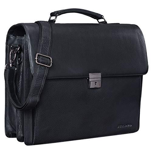 STILORD 'Johann' Klassische Aktentasche Herren Damen Businesstasche für 15,6 Zoll Laptop passend für große DIN A4 Ordner mit Schloss Rinds Leder, Farbe:Obsidian schwarz