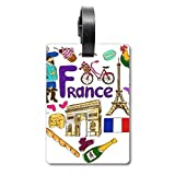 Etiqueta de identificación para Maleta de la Bandera Nacional de Francia con Texto en inglés Love Heart