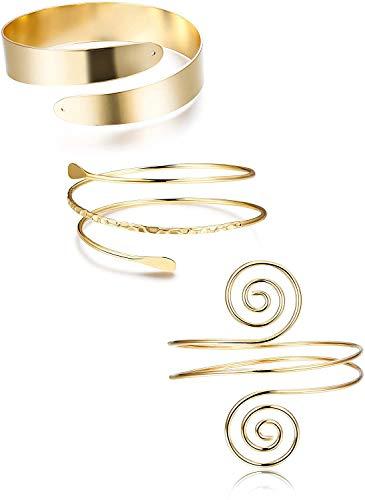 YADOCA 3 Stücke Oberarm Armbänder Für Frauen Einstellbare Oberarmmanschette Set Minimalistischen Boho Punk Spiralarm Armband Swirl Arm Armreif Set Verstellbaren