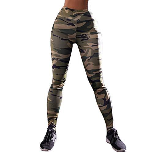 YWLINK Damen Camouflage Woodland Drucken Hohe Taille Leggings Fitness Sport Gym Bequem Mode Yoga Athletische Workout Hosen (Grün,M)