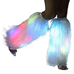 Amazing rave light up leg warmers- When you wear this neon leg warmers, it's really a big hit at a Christmas or Halloween party, EDM festival, valentine, great gift for women, ladies, girls' boots. You will get lots of compliments This furry white fu...