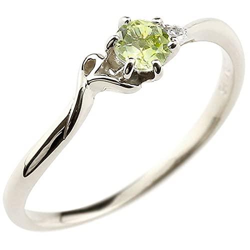 [アトラス]Atrus 指輪 レディース pt900 プラチナ900 ペリドット ダイヤモンド イニシャル ネーム R ピンキーリング 華奢 アルファベット 8月誕生石 18号