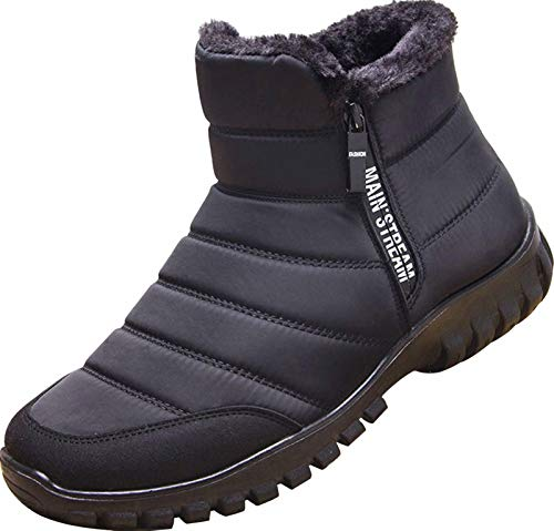 GILKUO Botas de Nieve Hombre Impermeable Zapatos de Invierno Botines Planos Forradas Calientes Comodas Zapatillas con Cremallera Negro Talla 42