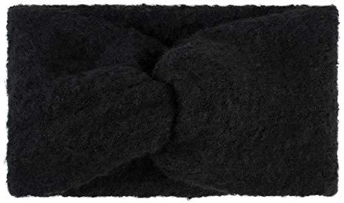 styleBREAKER Damen Feinstrick Stirnband mit weicher Oberfläche und Twist Knoten Detail, warmes Winter Haarband, Headband 04026043, Farbe:Schwarz