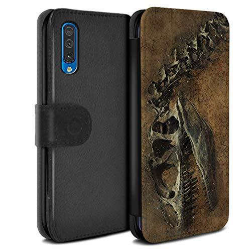 eSwish PU-Leder Hülle/Case/Tasche/Cover für Samsung Galaxy A70 2019 / Prähistorisches Fossil Muster/Dinosaurier Jurassic Earth Kollektion