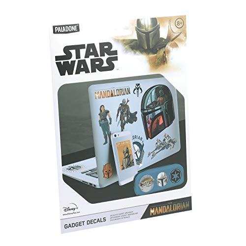 Paladone The Mandalorian Gadget Decals - 4 Feuilles de Stickers imperméables et réutilisables Star Wars PP7373MAN Noir