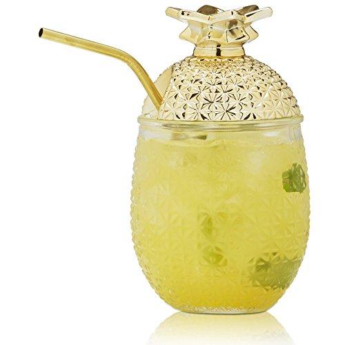 Brilliant–Ananas Cocktailglas mit Strohhalm und abnehmbarem Deckel, 444ml. Stückzahl: 2.
