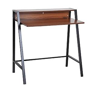 HOMCOM Mesa de Ordenador Escritorio para Hogar Oficina Estilo Industrial 84x45x85cm Color Nogal