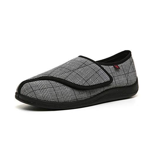 SZFGYJ Zapatillas Diabéticas Para Mujer, Zapatos De Edema Unisex Ajustable Swollen Wallen Shoes Sandalias Ortopédicas Adicionales Antideslizantes Ancianos,Negro,40