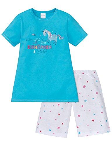 Schiesser Mädchen Zweiteiliger Schlafanzug Md Anzug Kurz, Blau (Türkis 807), 104