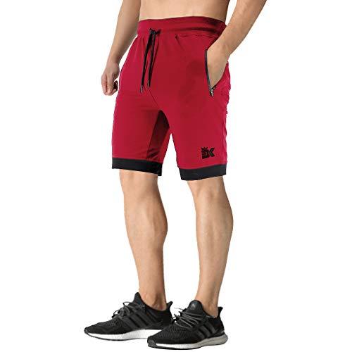 BROKIG Pantalones cortos de correr para hombre, pantalones cortos deportivos de entrenamiento con bolsillos laterales con cremallera.