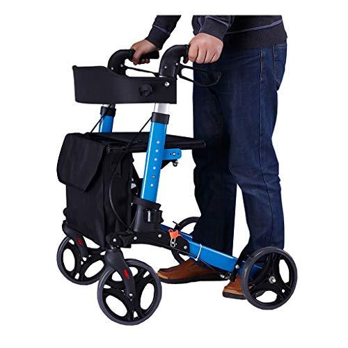 CYYC Met één klik opvouwbare rollator voor gehandicapten, met vier poten bejaarde wandelarmleuningen stoel stok anti-val hulpwandelaar