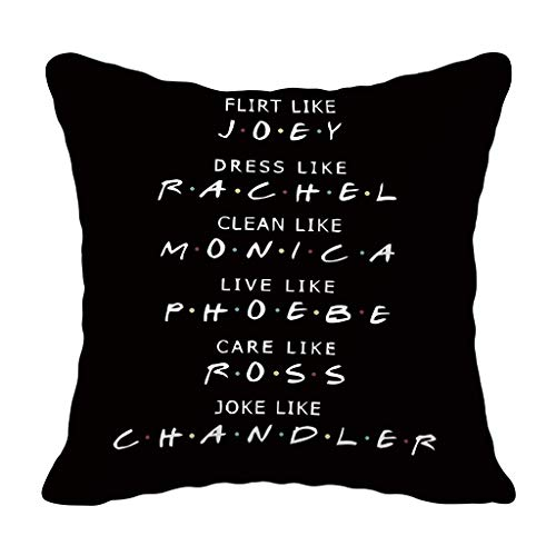 Iwinna 1 Pc - Minimalist Polyester Peach Velvet Throw Pillow Case Classic TV Show Funny Quotes Letters Printed Black Cushion Cover