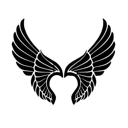 PMSMT Auto-Aufkleber, Engelsflügel, Persönlichkeit, Cartoon, Auto-Aufkleber, Kofferraum-Dekoration, Aufkleber, 43,2 x 35,6 cm, Schwarz, 2 Stück