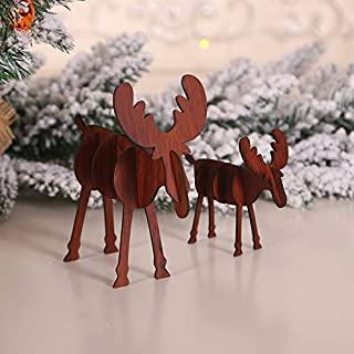 2Pcs Christmas Wooden Crafts Christmas Diy Elk Wood Ornaments Creative Stitching Christmas Decorations 1 Joys (Color : 2)