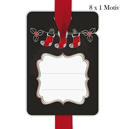 8 klassieke kerstcadeauhangers gekleurd, papieren hangers, hangset voor Kerstmis in tafel-look met kerstman sokken om te beschrijven • voor het versieren van geschenken geschenkverpakking