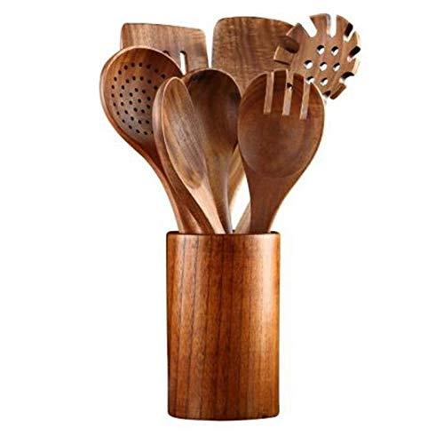 Cocina de madera Utensilios de cocina, 8 piezas Cucharas de madera y espátula para cocinar, elegantes, utensilios de cocina para uso en el hogar y cocina (Color : Wood)