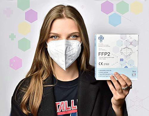 FFP2 Atemschutzmaske - Schachtel à 10 Stück CE-Zertifiziert mit verstellbarem Gummiband und anpassbarem Nasenbügel| 5 Filtrationsschichten, Schützt drinnen und draußen |QZY| - 4