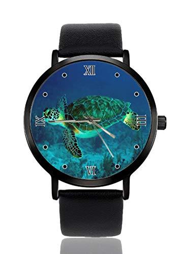 Aquarell Elegante Schildkröte Cool Ultradünne Herren Damen Armbanduhren Business Casual Sport Quarzuhr für Frauen Männer Wasserdicht Unisex Uhr