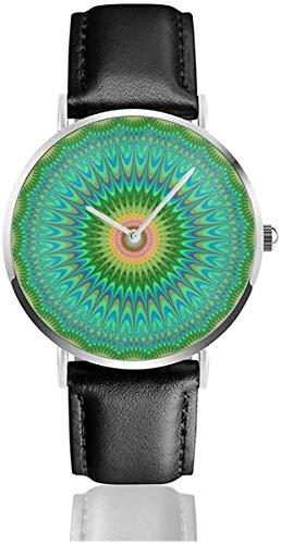 Women Casual Elegant Silver Round Case PU Leather Band Hippie Mandala Dial Analog Quartz Fashion Wrist Watches