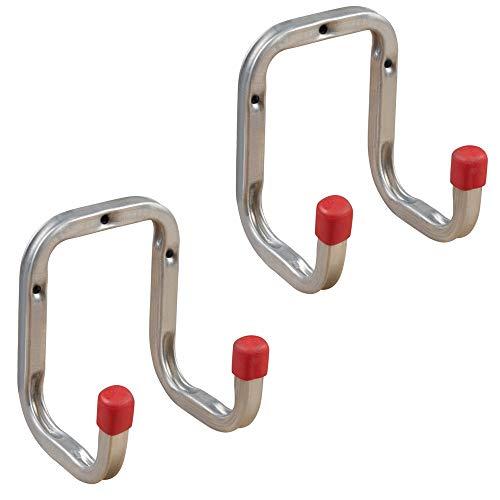 Gedotec Gerätehalter Metall Leiterhaken Wand-Haken Garage - DUO   Stahl verzinkt   Doppel-Haken mit Tiefe: 90 mm   Ordnungshaken zum Schrauben für die Wand-Montage   2 Stück - Universalhaken 2-fach