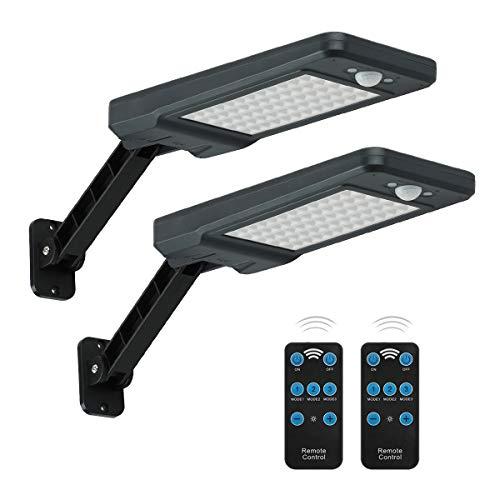 Luces solares al aire libre,Super brillante 900Lumen,60LED,batería incorporada de 4400mAh,Ángulo ajustable luz de inundación de seguridad con sensor de movimiento para patio trasero,jardín,camino