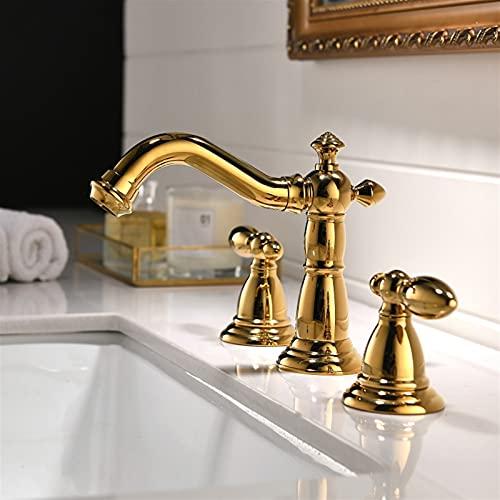 AXWT Placa de Oro Todo el Grifo de Bronce 3 Orificios Hot y frío Doble Mango Bañera de la bañera de la Cubierta de la Cubierta de la Cubierta con la Manguera