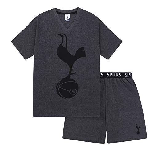 Tottenham Hotspur FC Official Gift Mens Loungewear Short Pyjamas Grey Large