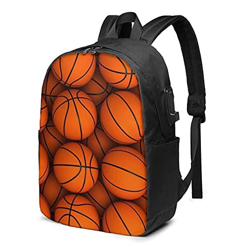 Mochila con patrón de baloncesto, mochila de viaje para portátil con puerto de carga USB para hombres y mujeres de 17 pulgadas - negro - talla única