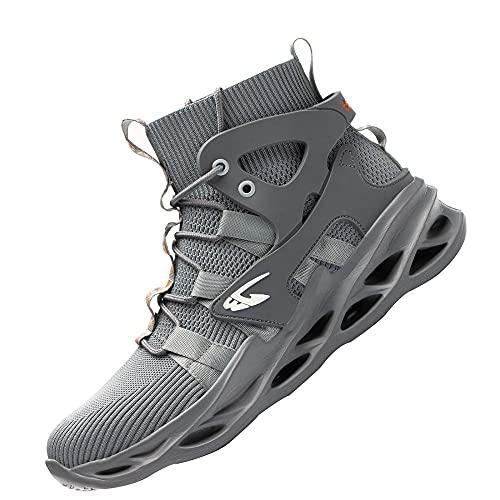 Hombre Zapatos de Seguridad,Seguridad para Hombre con Puntera de Acero Zapatillas de Seguridad Trabajo, Calzado de Industrial y Deportiva,Grey▁40