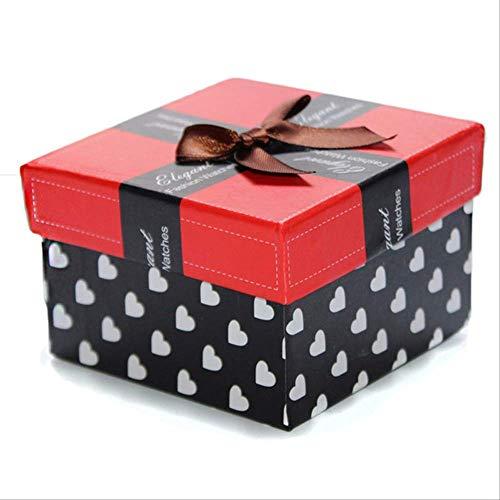 Geschenkdoos BLTLYX Mooie geschenken Horlogeboxen Vierkante kleur Papieren horloges Geschenkdoos Case Luxe Modieus Casual Heren Dames Horlogebox 9 * 9 * 6cm Rood